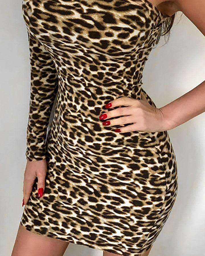 Leopard One Shoulder Cut Out Bodycon Dress