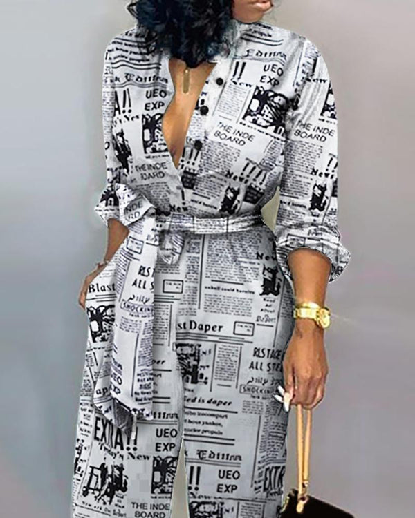 Headline Print Tied Waist Jumpsuit