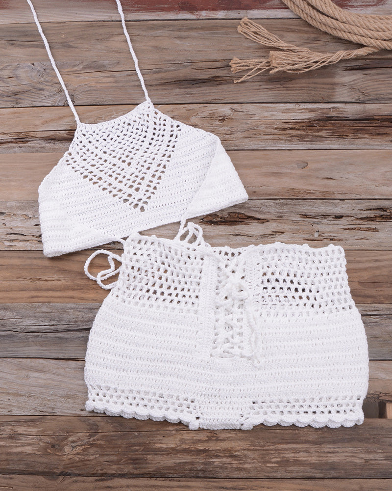 Hollow Out Halter Crochet Tankini Set