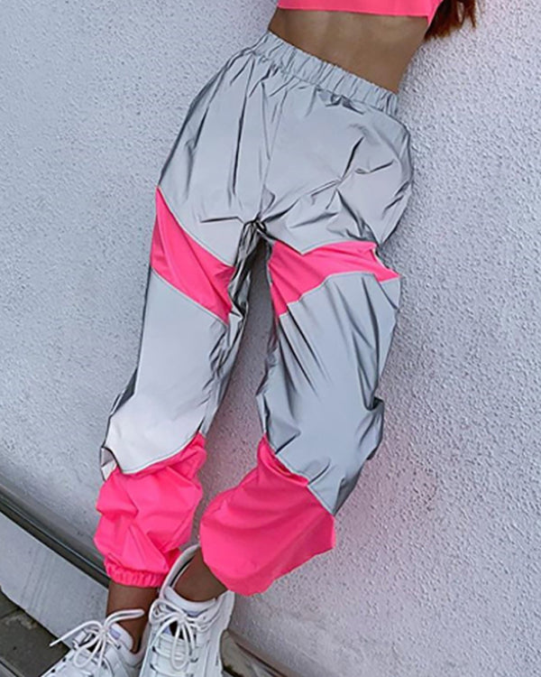 Casual Reflective Colorblock Sweatpants