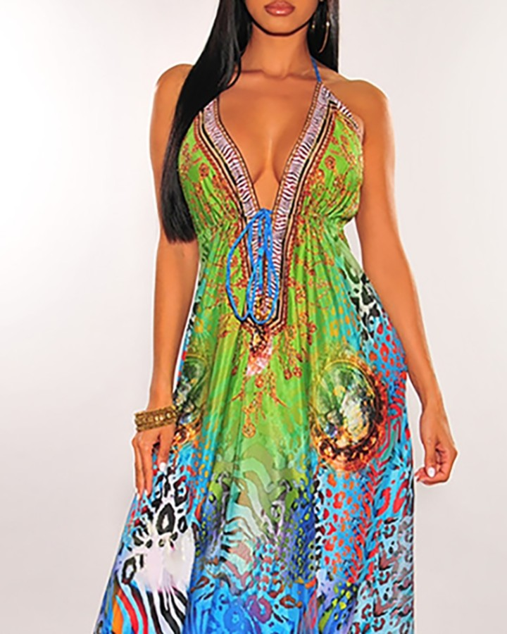 Cheetah Print Colorblock Halter Backless Maxi Dress