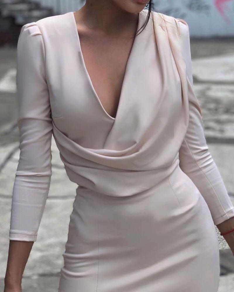 Deep V Drape Front Bodycon Dress