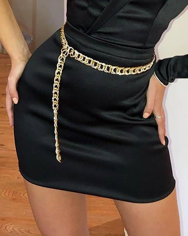 One Shoulder Puffed Sleeve Bodycon Dress