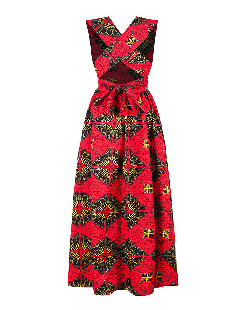 Print Crisscross Halter High Slit Maxi Dress