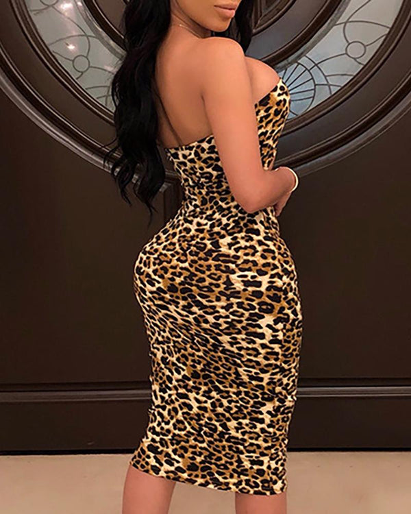 Leopard Print Cutout Tube Dress