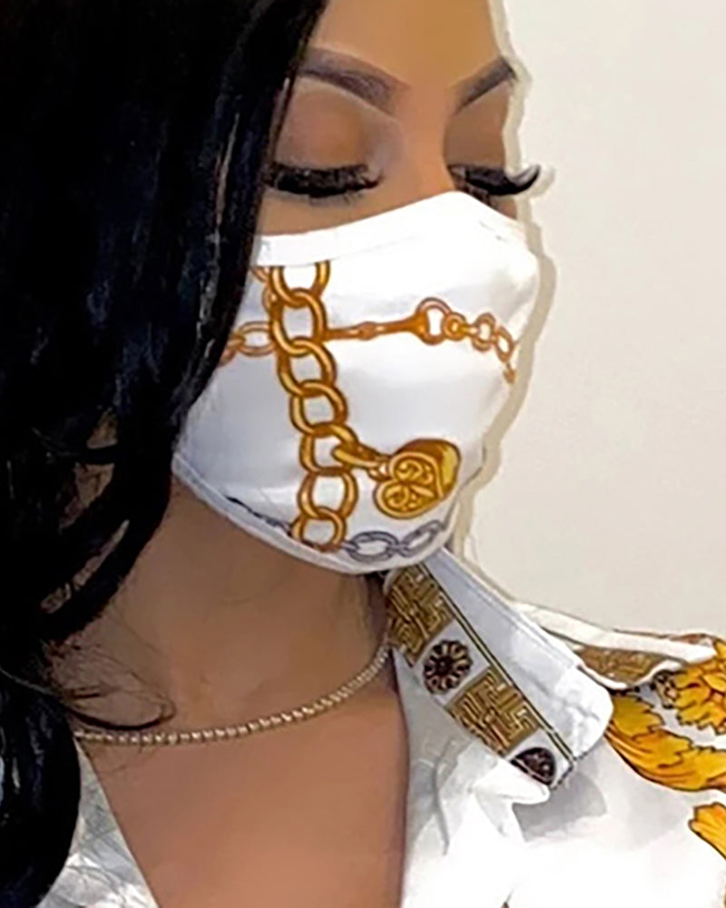 Chain Print Breathable Mouth Mask Washable And Reusable Without Cord Lock Toggles