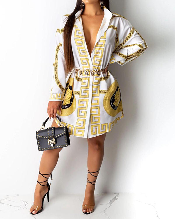 Deep V-Neck Printed Shirt Dress