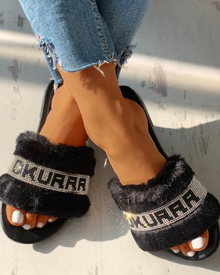 Letter Print Fluffy Open Toe  Slip-On