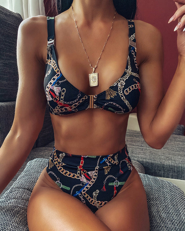 Chain Print High Waist Bikini Set