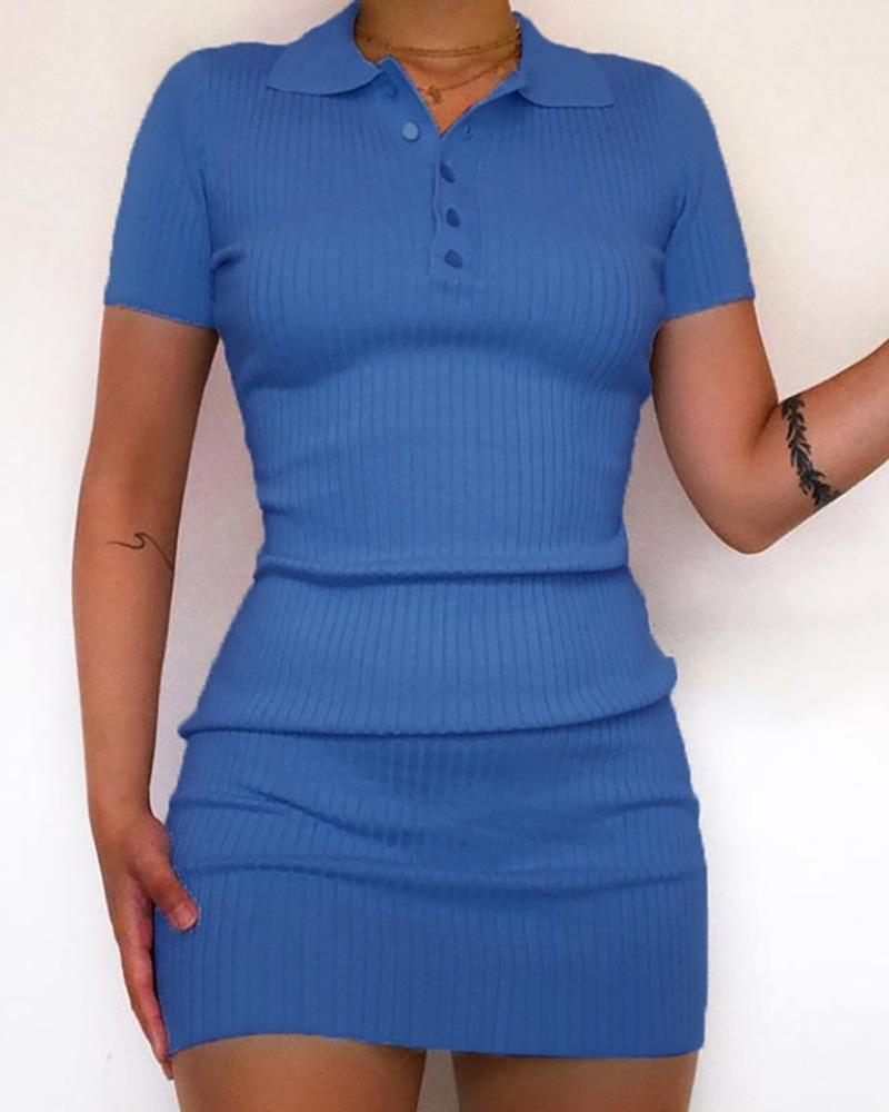 Solid Bottoned Design Ribbed Dress