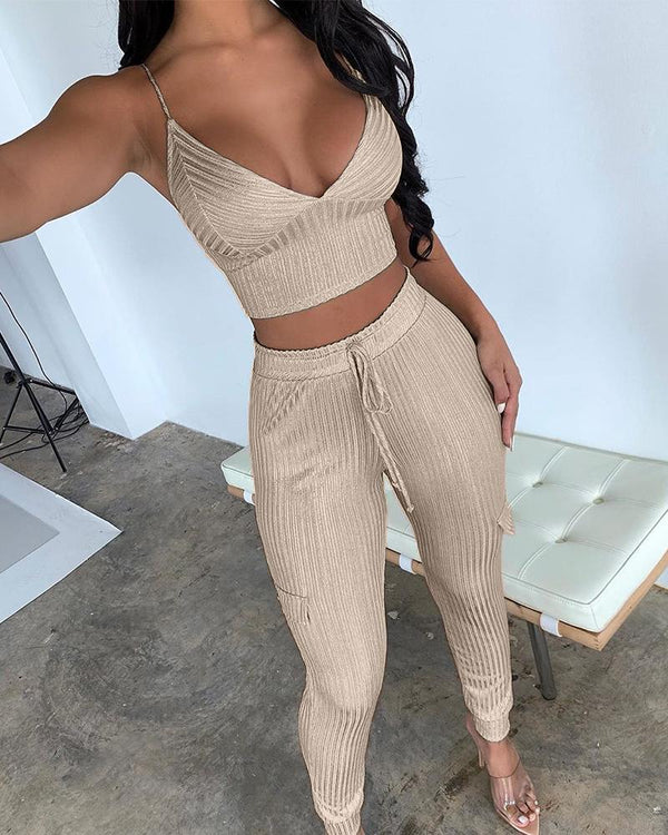 Ribbed Crop Top + Trousers Set