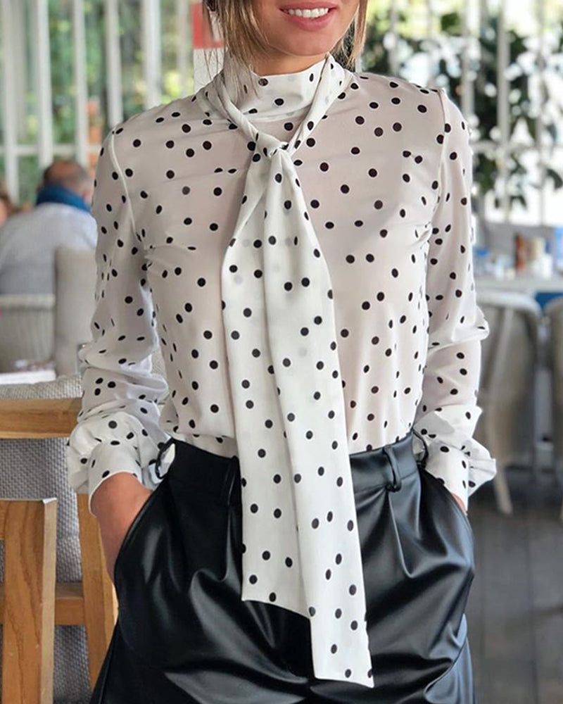 Dot Long Sleeve Blouse & Silk Scarves Sets 4