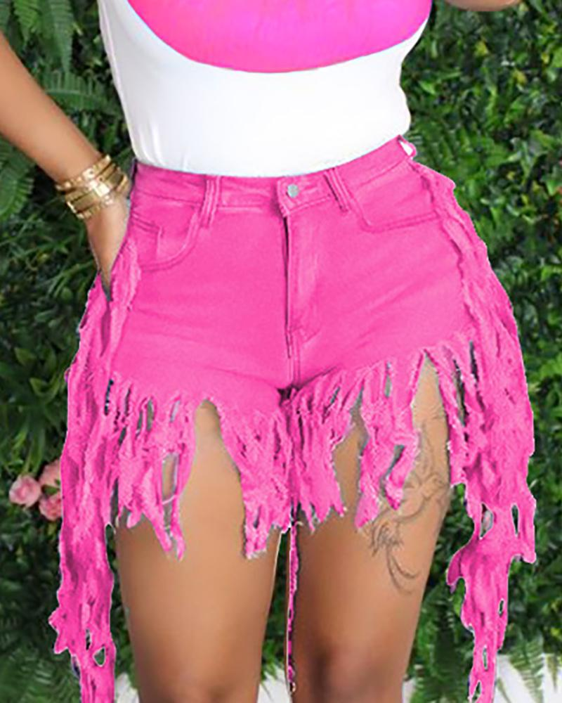 High Waist Pocket Tassel Denim Shorts