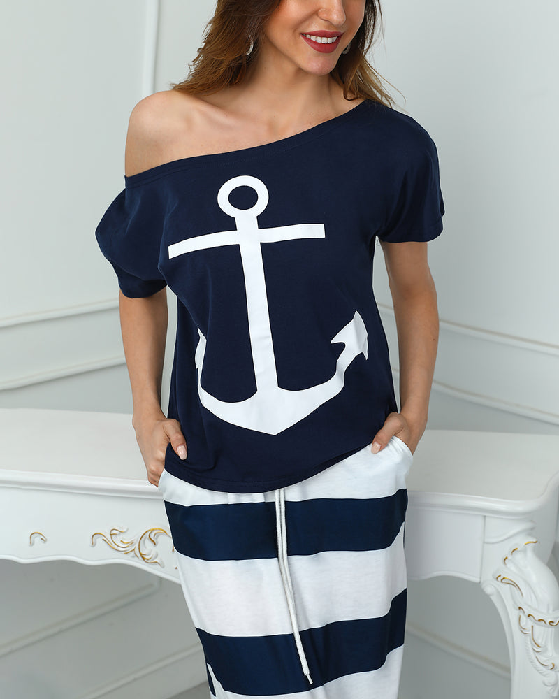 Boat Anchor Print Short Sleeve Casual T-Shirt