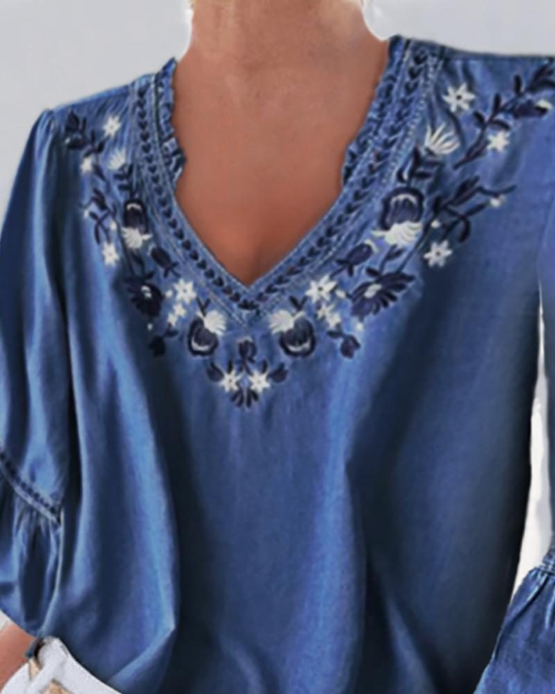 Denim Bell Sleeve Floral Embroidery Blouse