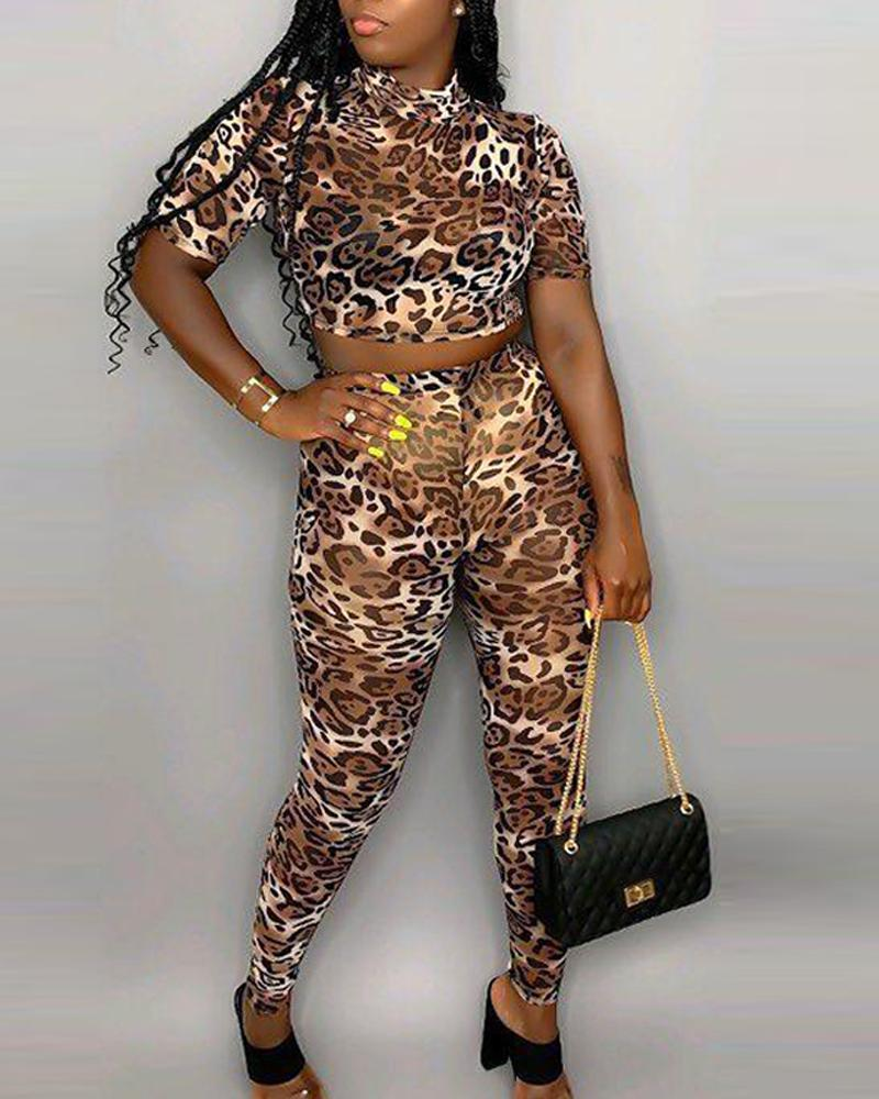 Round Neck Leopard Top & Bodycon Pant Sets