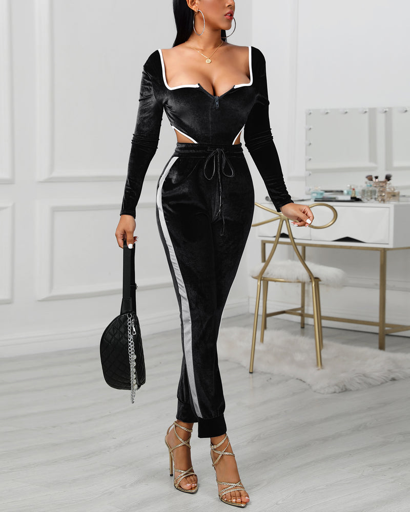 Colorblock Zipped Drawstring Design Backless Jumpsuit