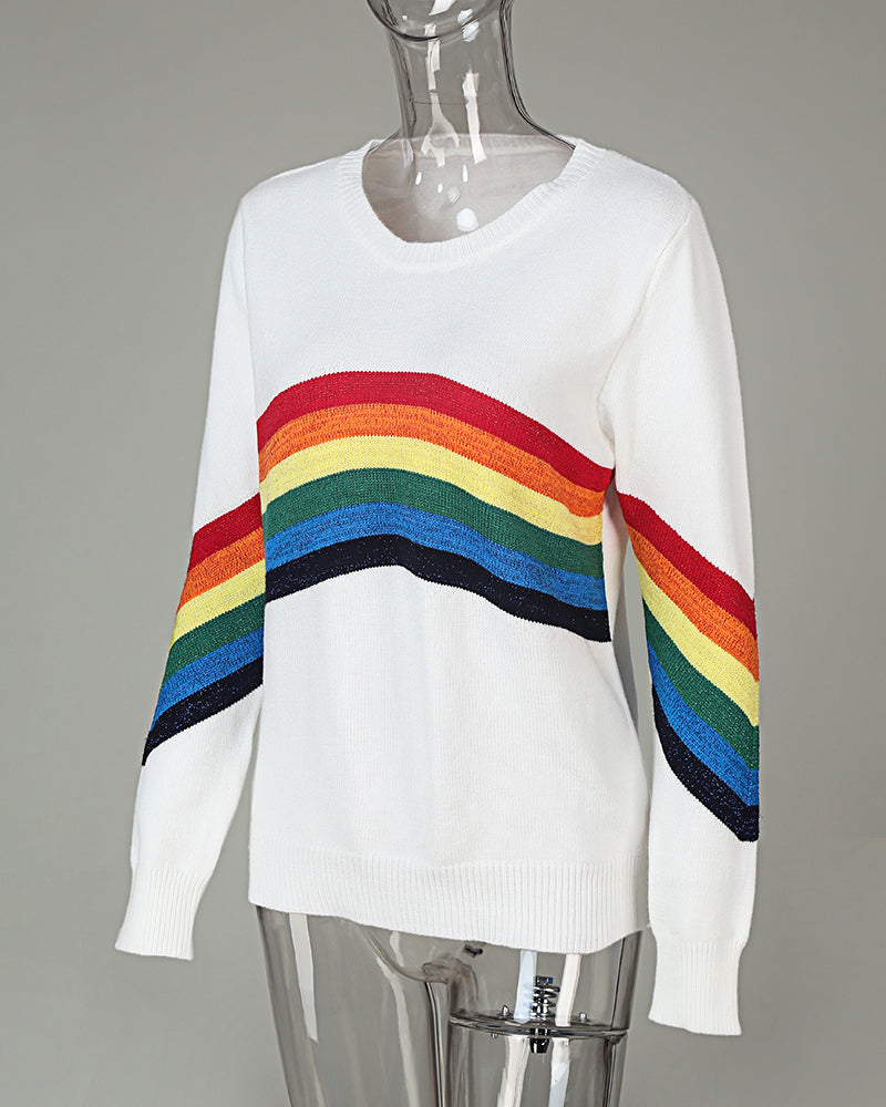 O Neck Rainbow Striped Long Sleeve Sweater