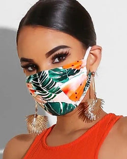 Leaf Print Breathable Mouth Mask Washable And Reusable