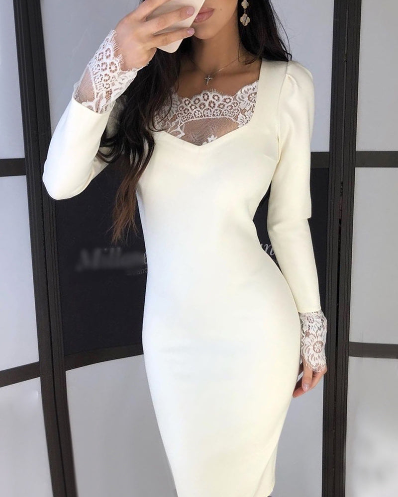 Solid Eyelash Lace Insert Long Sleeve Bodycon Dress