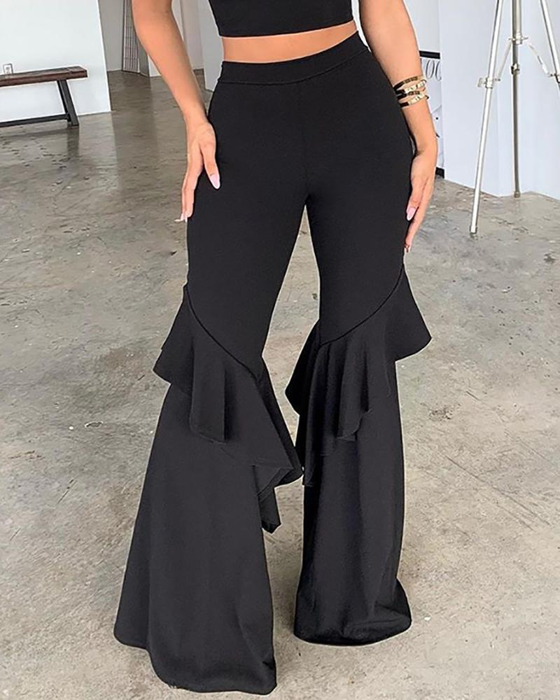 Solid Ruffled Design Bell-bottom Pants