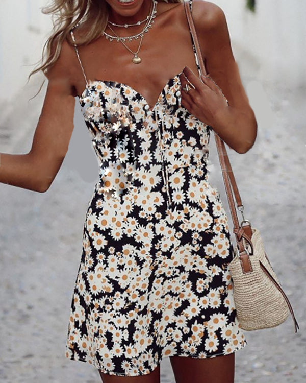 Floral Print V-neck Spaghetti Strap Dress