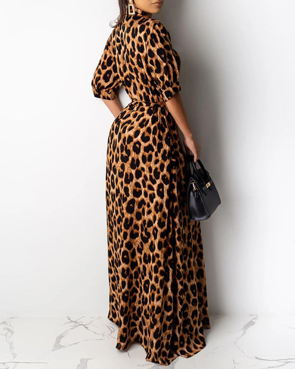 Plunge Half Sleeve Leopard Print Dress