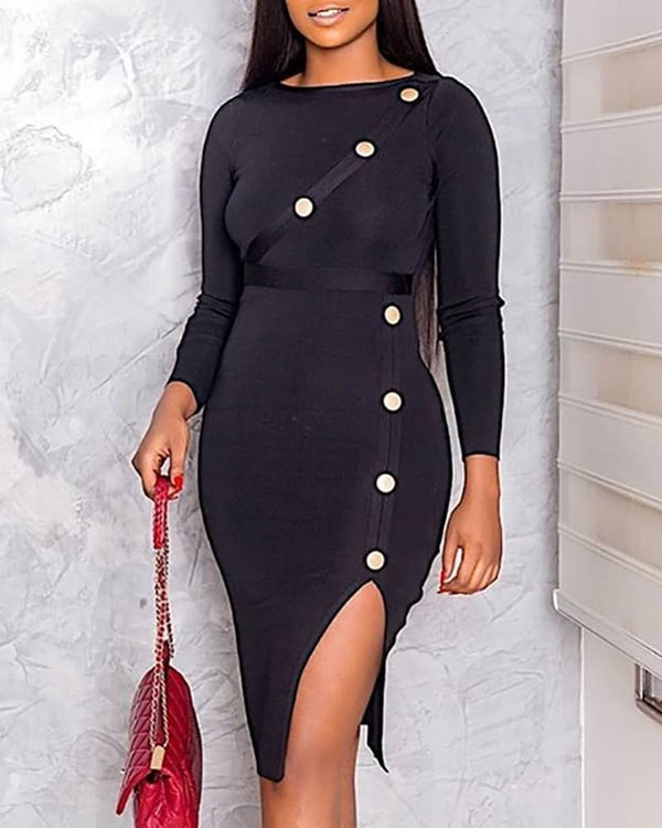 Long Sleeve Buttoned Slit Design Dress