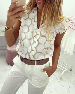 V-Neck Print Ruffles Casual Shirt