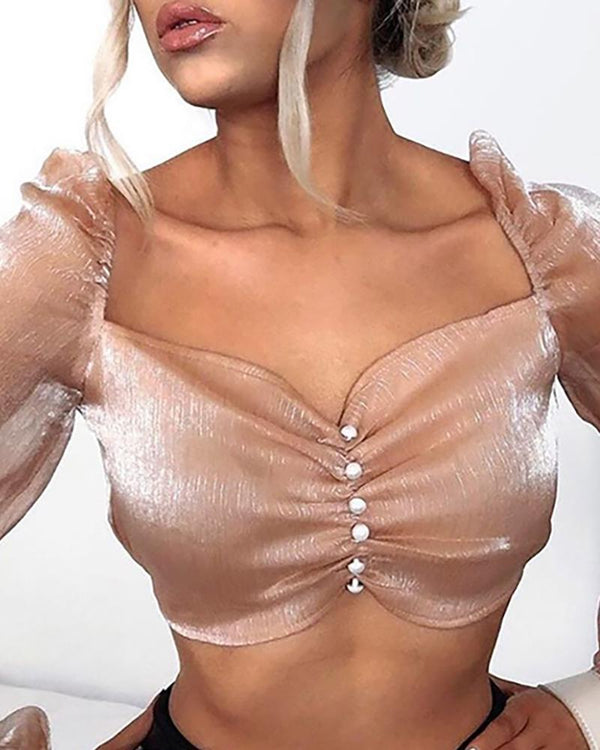 Solid Mesh See Through Ruched Crop Top