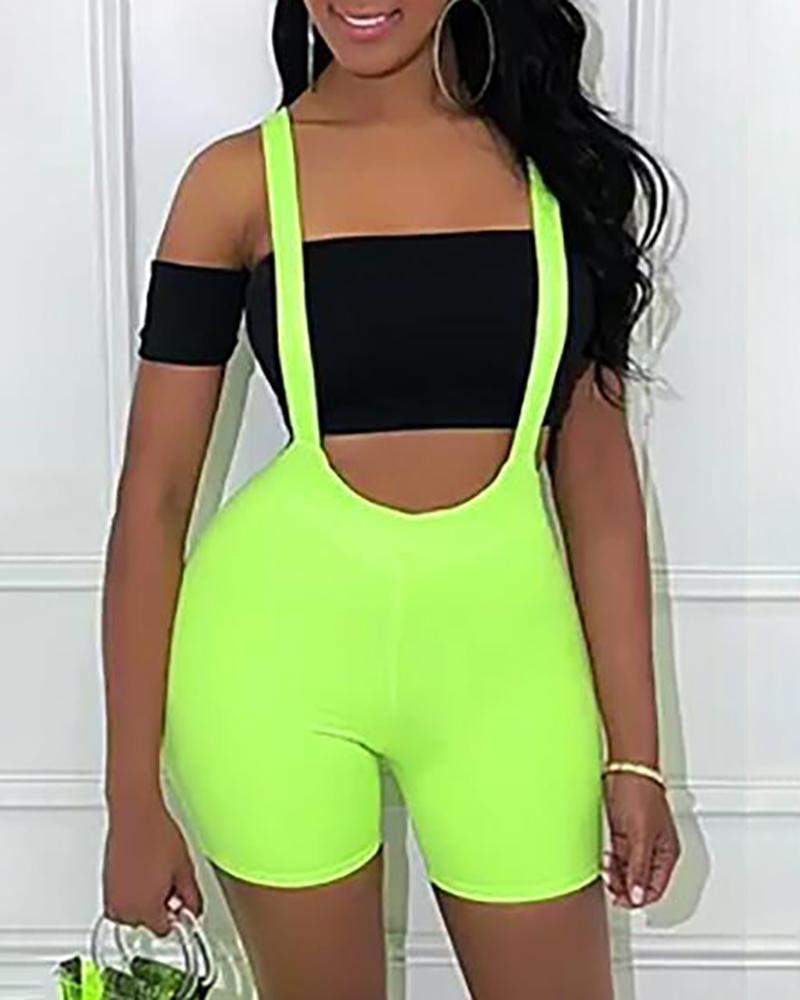 Solid Suspender Open Back Romper