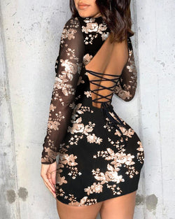 Lace-Up Backless Floral Bodycon Dress