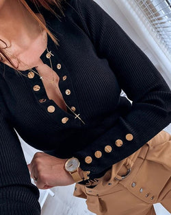 Button Design Long Sleeve Casual Blouse