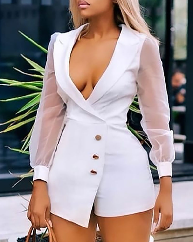 Notched Collar Sheer Mesh Insert Long Sleeve Buttoned Blazer Romper 9