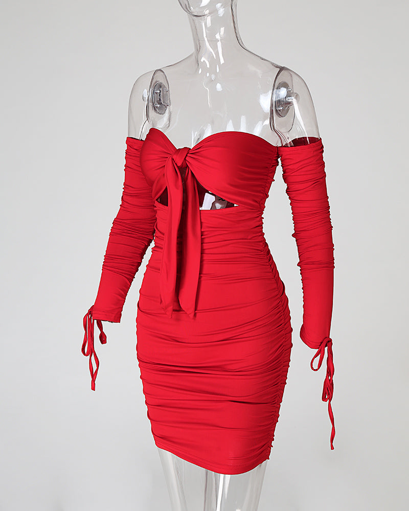Bust Tie Bodycon Ruched Dress
