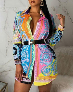 Baroque Print Buttoned Shirt Dress