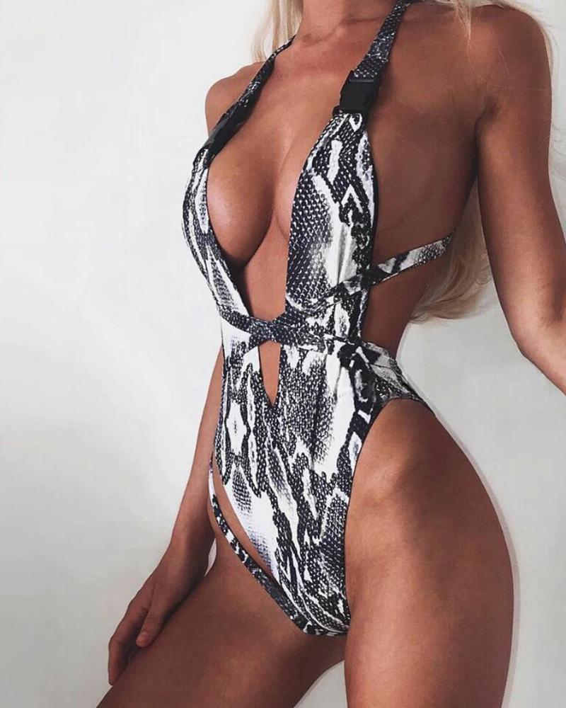 Print Crisscross Backless One Piece Swimwear