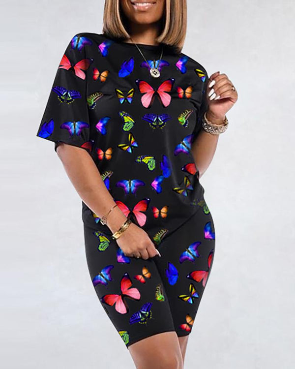 Short Sleeve Butterfly Printed Top & Short Sets