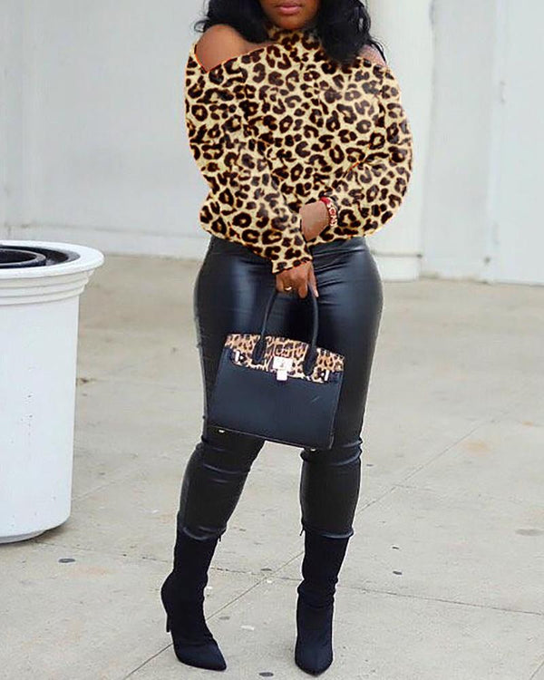 Leopard Print Cold Shoulder Crisscross Back Blouse