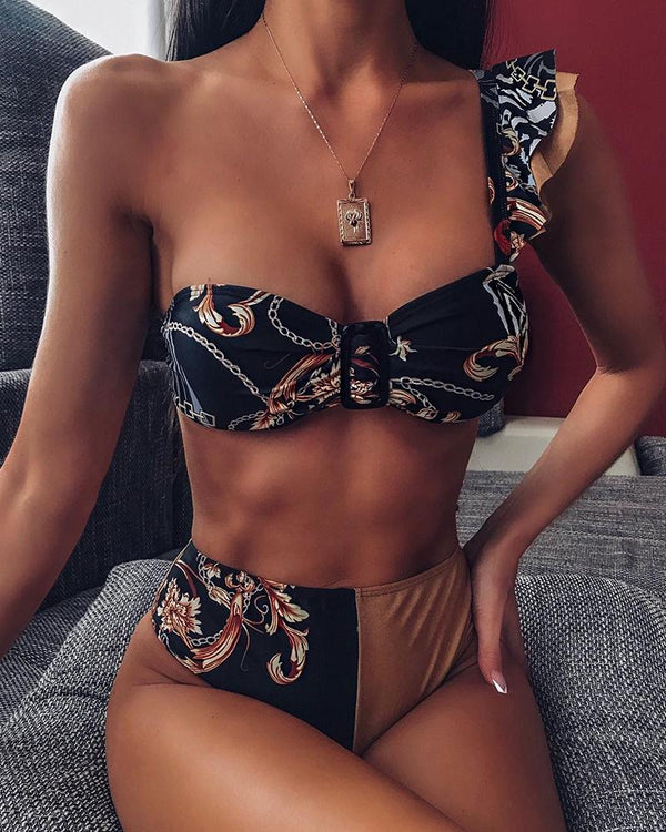 Ruffled One Shoulder Bikini