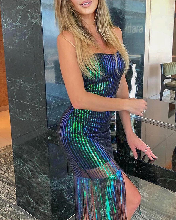 Glitter Tassel Design Sleeveless Sequins Bodycon Dress