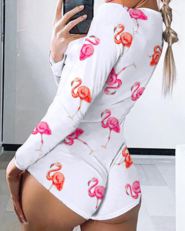 Long Sleeve Flamingo Print Lounge Romper