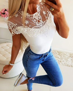 Short Sleeve Lace Yoke Casual Top