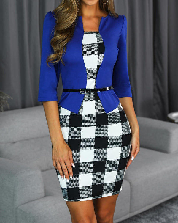Grid Insert Fake Two Piece Bodycon Dress