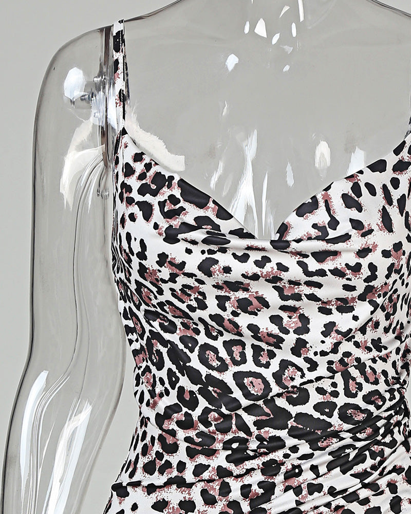 Leopard Print Cami Bodycon Dress