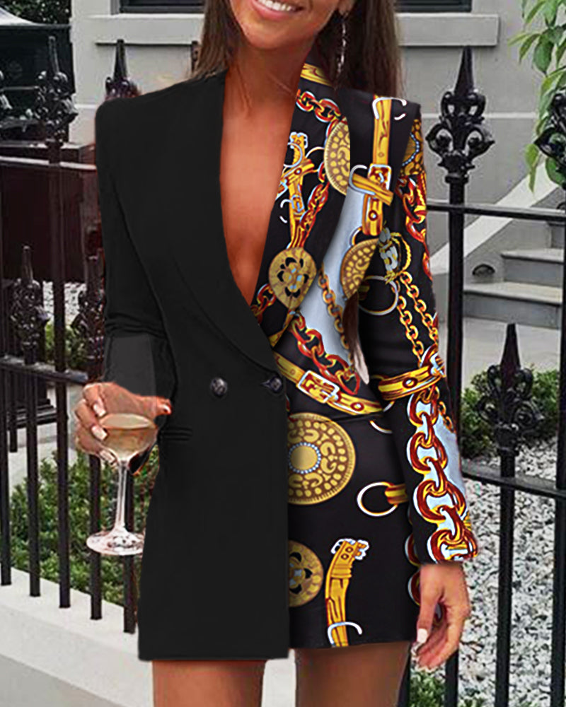 Chain Print Long Sleeve Blazer Dress