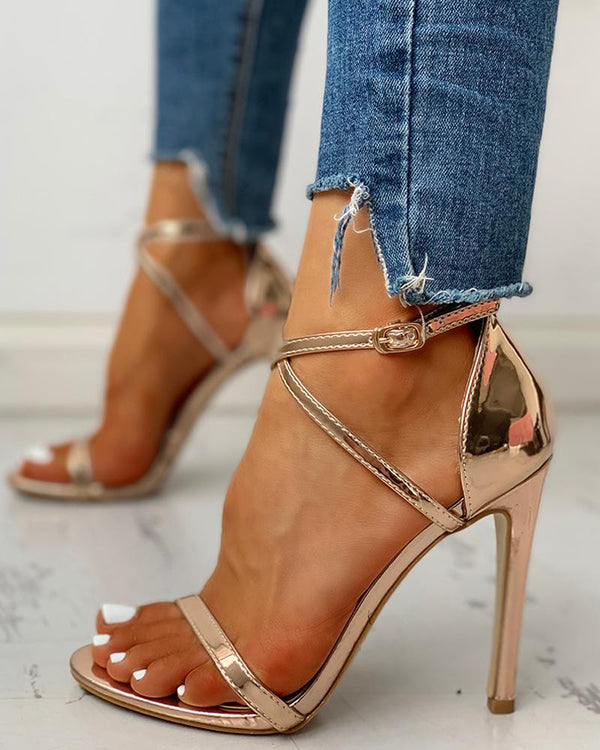 Glitter Multi-strap Ankle Buckled Thin Heeled Sandals