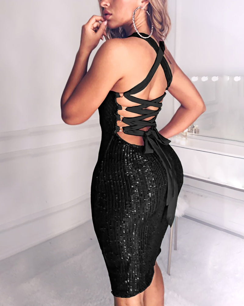Sequined Bandage Bodycon Dress