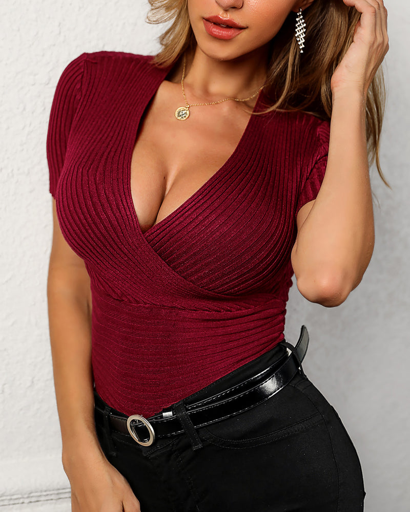 Solid V-Neck Short Sleeve Wrap Top
