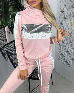 Hooded Colorblock Insert Sweatshirt & Pants Sets